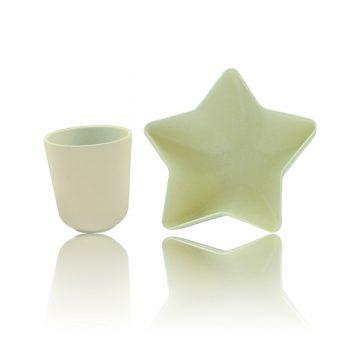 Ensemble Bol étoile Et Tasse En Bambou – Crème