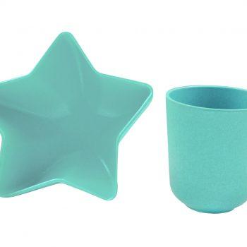 Ensemble Bol étoile Et Tasse En Bambou – Bleu