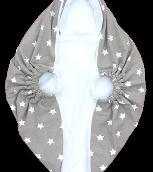 Couverture Bébé D'emmaillotage Avec Poignées – Gris étoiles Blanches