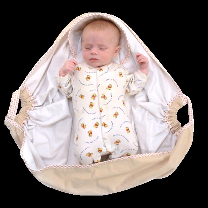 Couverture-emmaillotage-crème-snugglebundl-ouverte-avec-bébé