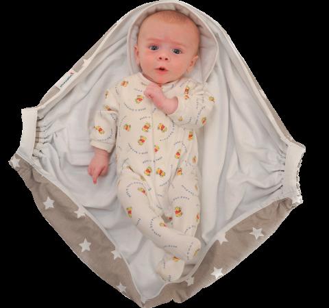 Couverture Emmaillotage Grise Snugglebundl Ouverte Avec Bébé Web