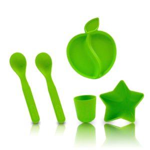 Kit Vaisselle Enfant En Bambou – Vert
