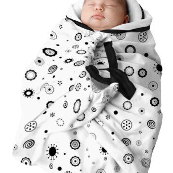 Couverture Bébé D'emmaillotage Avec Poignées – Blanche Motifs Noirs